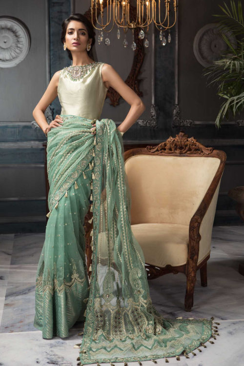 Aayra Festive Chiffon – Pakistani Saree CC-V3-D7  – RELISTED / RESTOCKED Aayra Festive Chiffon - Original Best Sellers