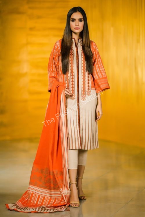 3 Piece Embroidered Khaddar Suit with Khaddar Dupatta |  Alkaram | FW-01-19-Orange
