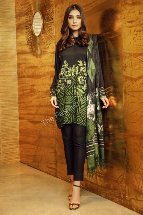 3 Piece Printed Twill Viscose Suit with Printed Shawl |  Alkaram |   FW-14-19-Green
