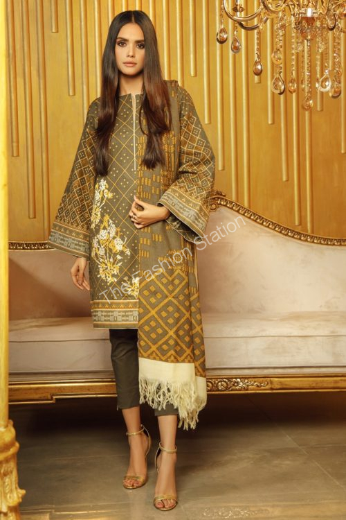 3 Piece Embroidered Khaddar Suit with Printed Shawl |  Alkaram |  FW-14.1-19-Green