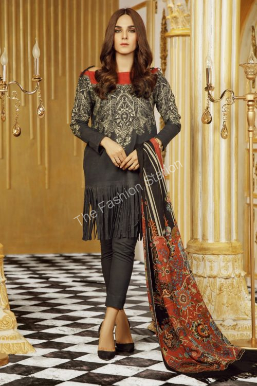 3 Piece Printed Khaddar Suit with Printed Shawl |  Alkaram |  FW-15.1-19-Grey
