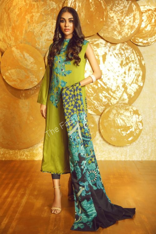 3 Piece Printed Twill Viscose Suit with Twill Viscose Dupatta |  Alkaram | FW-17-19-Green
