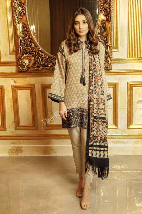 3 Piece Printed Twill Viscose Suit with Twill Viscose Dupatta |  Alkaram |  FW-17.1-19-Beige