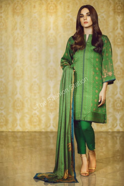3 Piece Printed Twill Viscose Suit with Twill Viscose Dupatta |  Alkaram | FW-20.1-19-Green