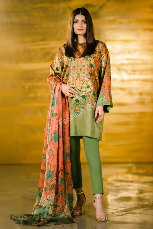 3 Piece Printed Cotton Satin Suit with Fancy Dupatta |  Alkaram | FW-31.1-19-Green