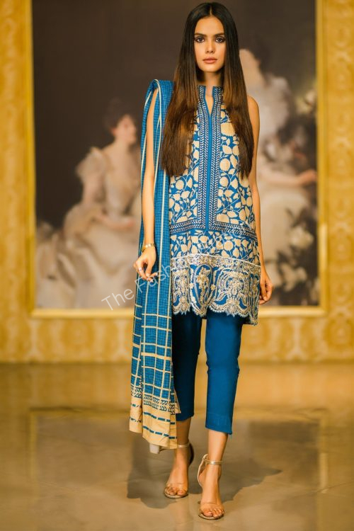 2 Piece Embroidered Plain Viscose Suit with Plain Viscose Dupatta |  Alkaram |  FW-38.1-19-Blue