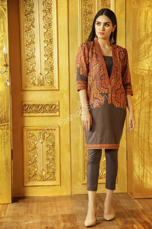 2 Piece Printed Khaddar Suit with Khaddar Trouser |  Alkaram |  FW-41.1-19-Brown