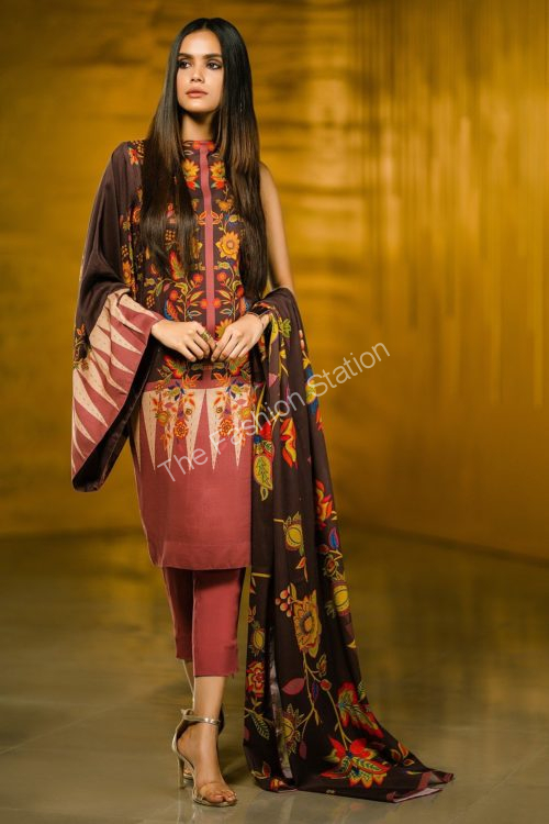 2 Piece Printed Plain Viscose Suit with Plain Viscose Dupatta |  Alkaram |   FW-42-19-Dark Brown