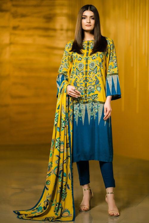2 Piece Printed Plain Viscose Suit with Plain Viscose Dupatta  |  Alkaram | FW-42-19-Yellow