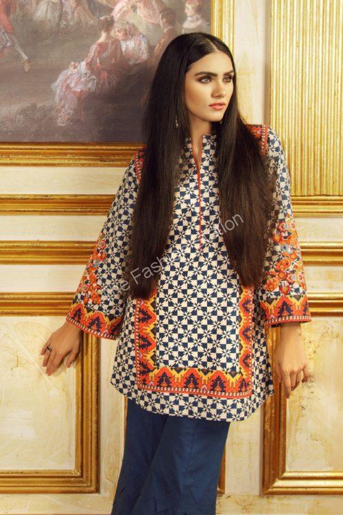 1 Piece Embroidered Khaddar Shirt  |  Alkaram | FW-43.1-19-Blue
