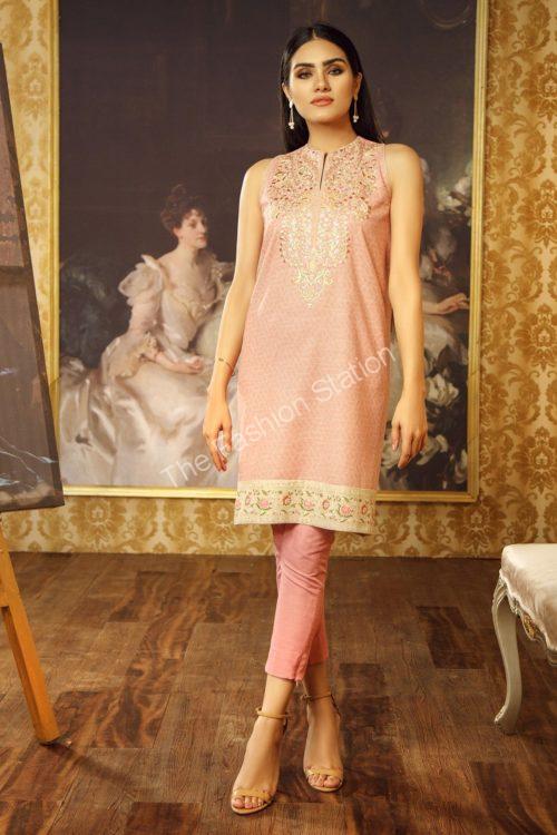 1 Piece Embroidered Khaddar Shirt  |  Alkaram | FW-44.1-19-Light Pink