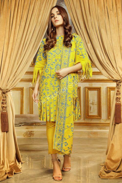 3 Piece Printed Khaddar Suit with Khaddar Dupatta  |  Alkaram | FW-45.1-19-Yellow