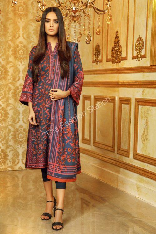 3 Piece Embroidered Plain Viscose Suit with Plain Viscose Dupatta  |  Alkaram | FW-9.1-19-Blue