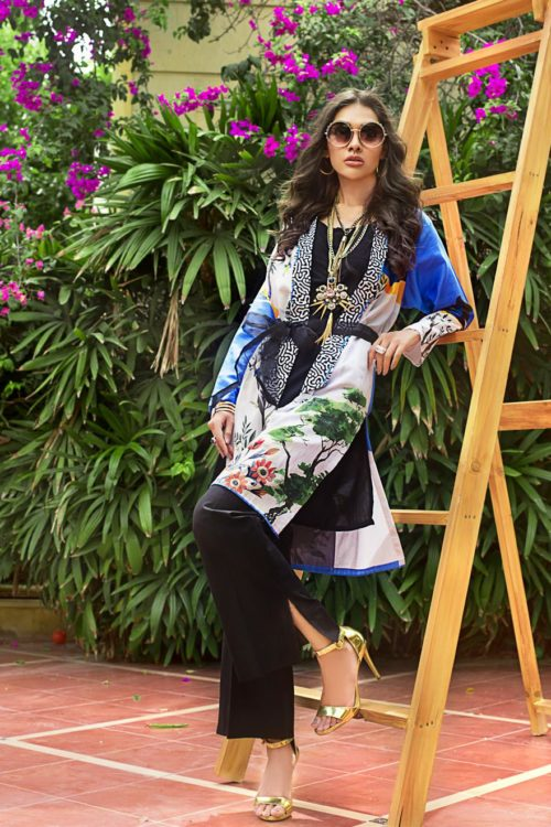 Luxury Shaleen Digital Satin Collection by Gul Ahmed DCSS04-1 PC SHIRT