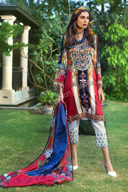 Luxury Shaleen Digital Satin Collection by Gul Ahmed DCS12