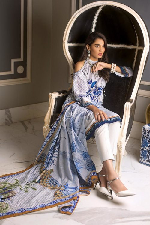Luxury Shaleen Digital Satin Collection by Gul Ahmed DCS07