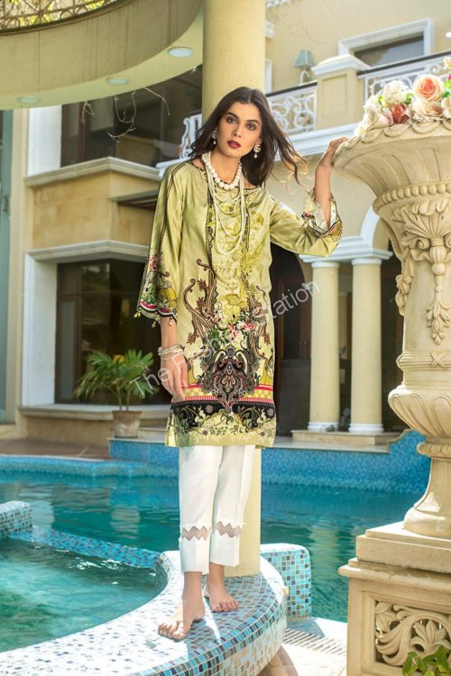 Luxury Shaleen Digital Satin Collection by Gul Ahmed DCSS08 -1 PC SHIRT