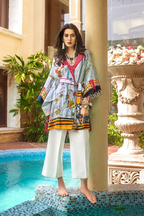 Luxury Shaleen Digital Satin Collection by Gul Ahmed DCSS05 -1 PC SHIRT