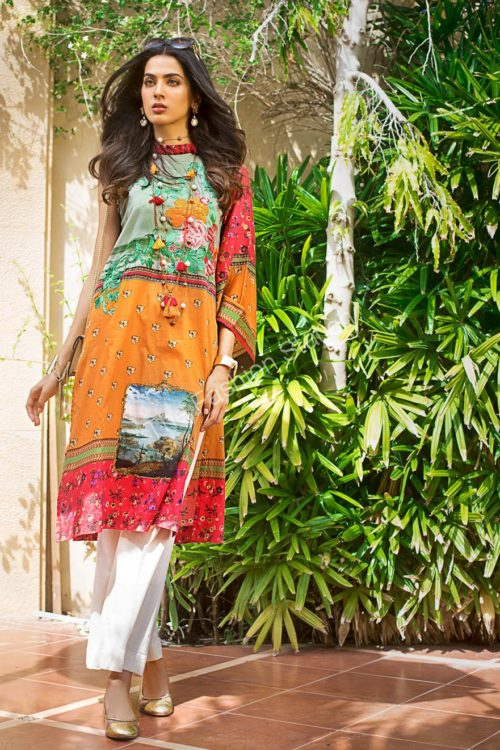 Luxury Shaleen Digital Satin Collection by Gul Ahmed DCSS07 -1 PC SHIRT