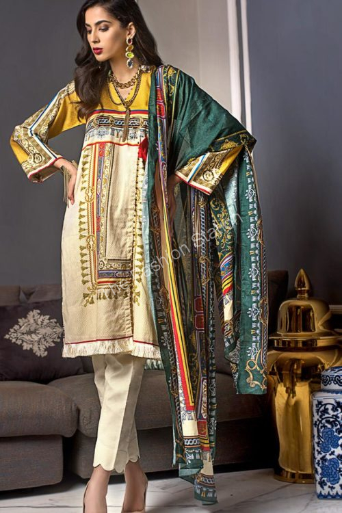 Luxury Shaleen Digital Satin Collection by Gul Ahmed TDCS01
