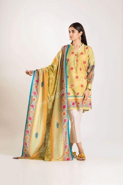 Khaadi Winter Vibe 2019 LKL19502-Green Yellow-2Pc