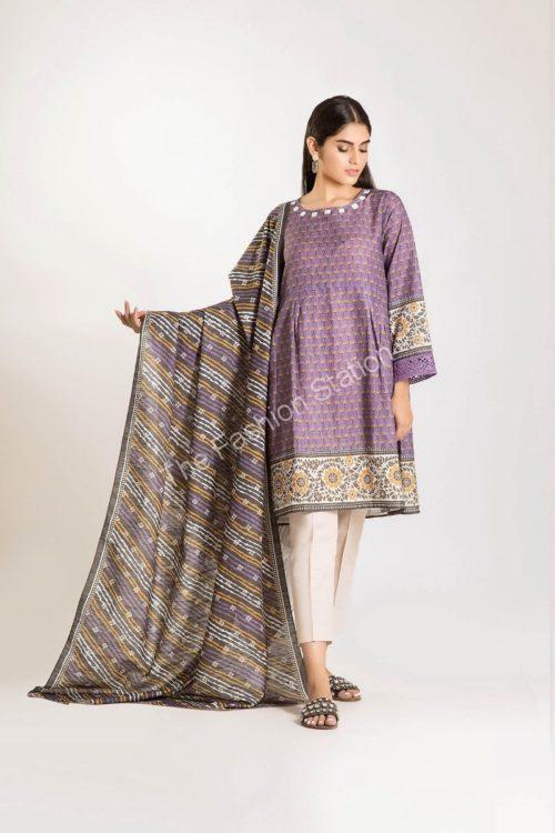 Khaadi Winter Vibe 2019 LKL19503-Purple-2Pc