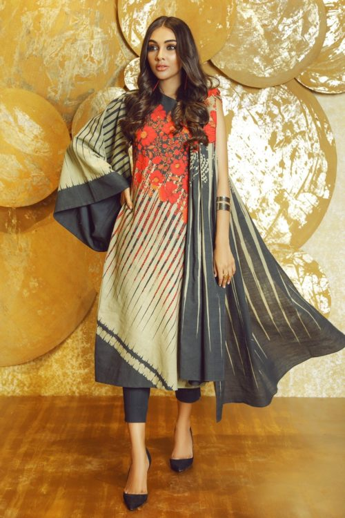 3 Piece Printed Khaddar Suit with Khaddar Dupatta |  Alkaram |  FW-03-19-Red