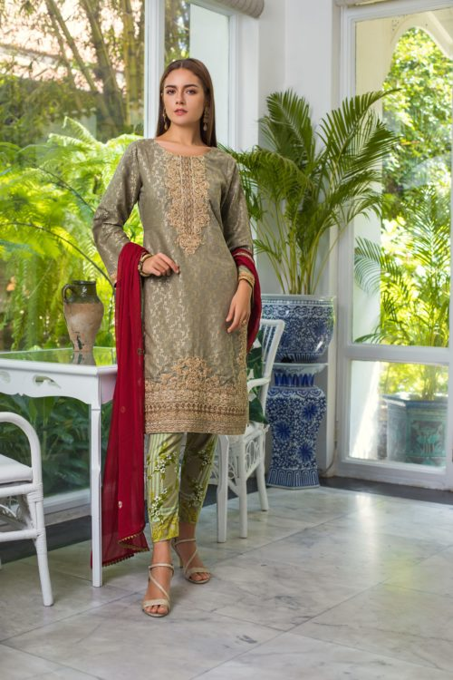 Jaipur Jacquard Embroidered by ZS Textiles JJ-4 Jaipur Jacquard Embroidered by ZS Textiles - Original pakistani suits in delhi