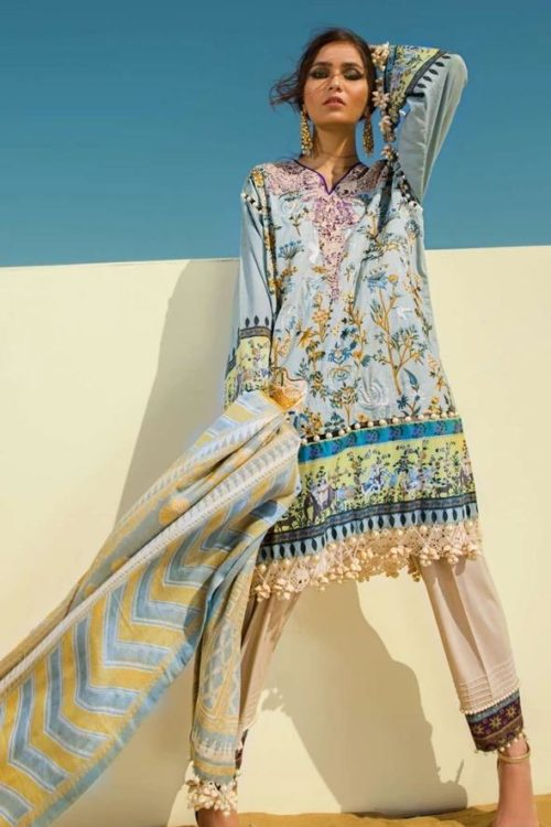 Sana Safinaz Winter Shawl 2019 - Original Sana Safinaz Winter Shawl 2019 Design 4B [tag]