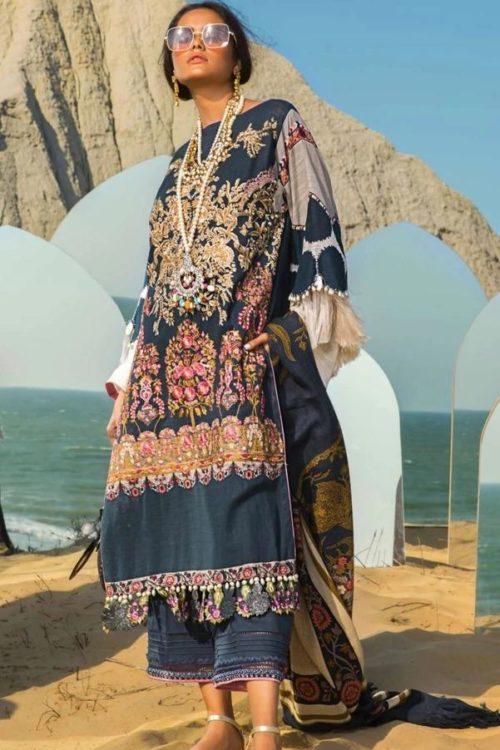 Sana Safinaz Winter Shawl 2019 - Original Sana Safinaz Winter Shawl 2019 Design 9B [tag]