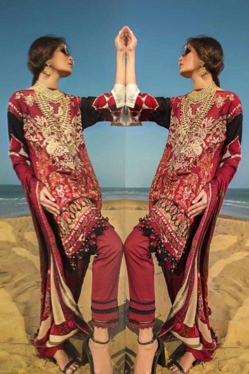 Sana Safinaz Winter Shawl 2019 - Original Sana Safinaz Winter Shawl 2019 Design 9A [tag]