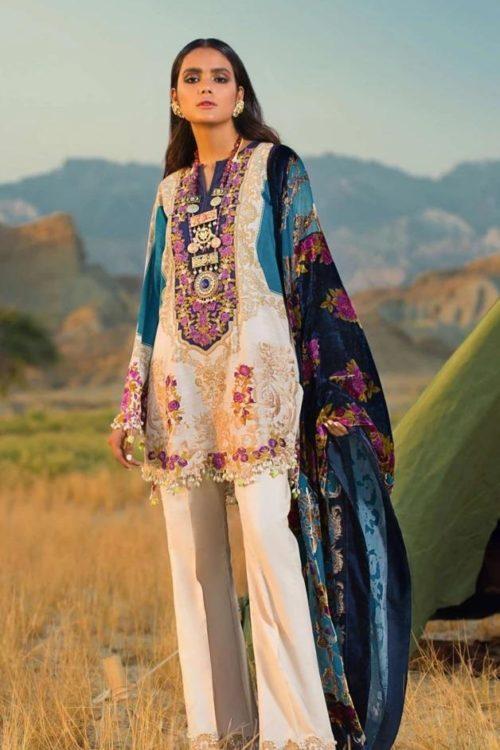 Sana Safinaz Winter Shawl 2019 - Original Sana Safinaz Winter Shawl 2019 Design 2A [tag]