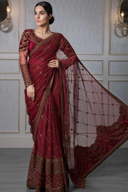 MARIA.B MBROIDERED Wedding Edition Saree – Maroon (BD-1209) Best Sellers Restocked Best Sellers