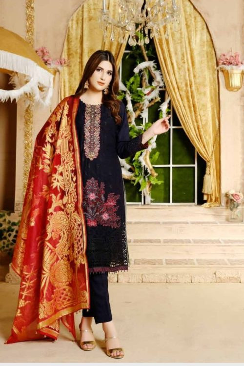 Damask X Rouche Designer Salwar Kameez D No 06 Damask X Rouche Designer Salwar Kameez - Original Party & Festive Collection