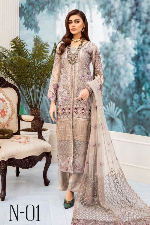 Nureh Embroidered Chiffon Collection 2020 N-01 Best Sellers Restocked Party & Festive Collection