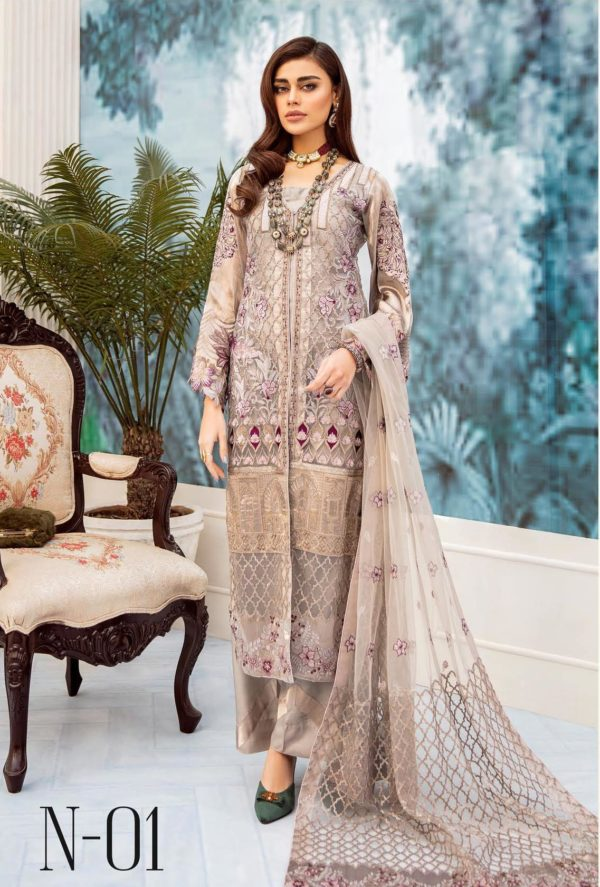 Nureh Embroidered Chiffon Collection 2020 N-01