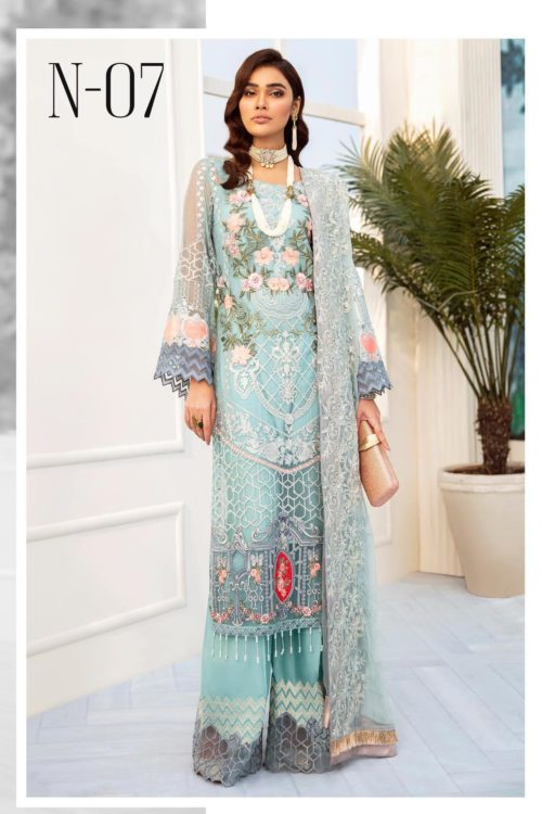 Nureh Embroidered Chiffon Collection 2020 N-07 Best Sellers Restocked Party & Festive Collection