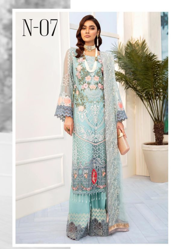 Nureh Embroidered Chiffon Collection 2020 N-07