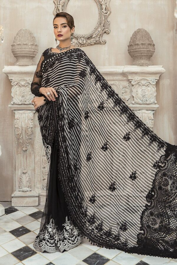 MARIAB EID Collection 2020 – Unstitched MBROIDERED – Black (BD-1903) Saree
