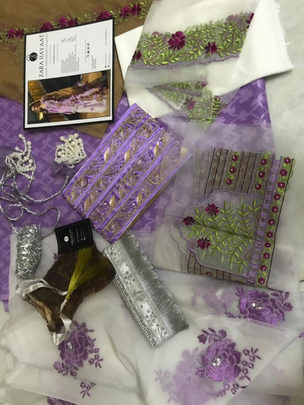 Zara Hayaat Luxury Lawn   – MULBERRY ICE SS-02 Zara Hayaat Lawn with Tassels - Original