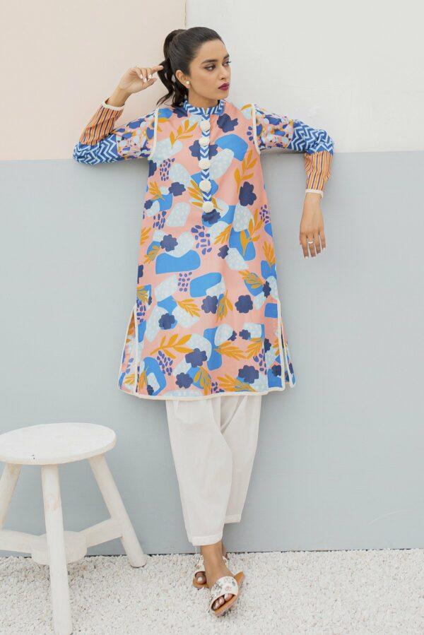 BTW Unstitched Designer Lawn Kurti – Novella Peach Low Range Pakistani Suits & Kurtis