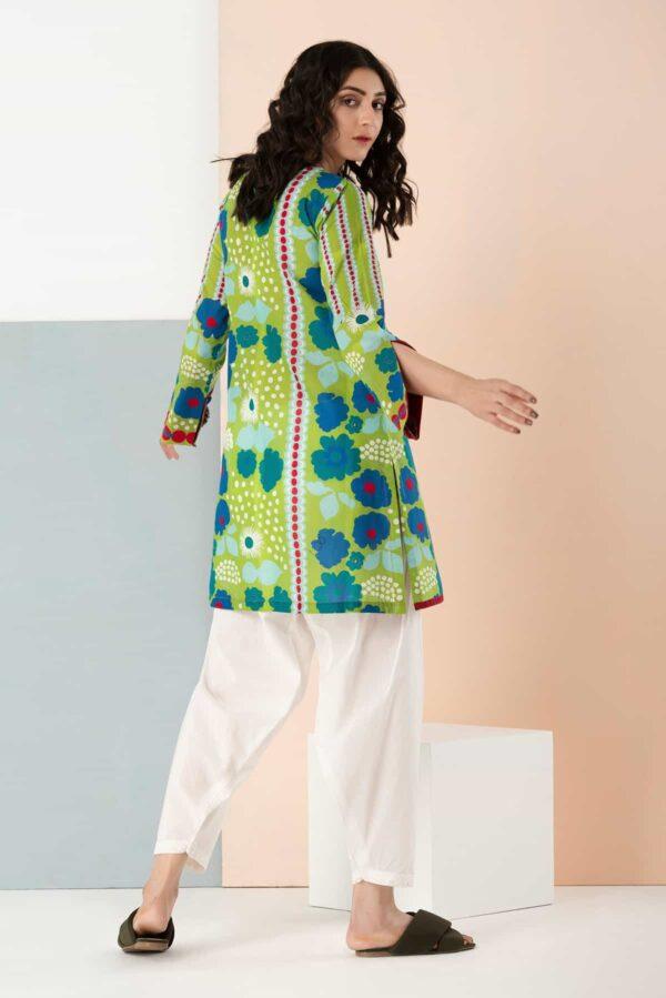 BTW Unstitched Designer Lawn Kurti – Poppy Pistachio Low Range Pakistani Suits & Kurtis