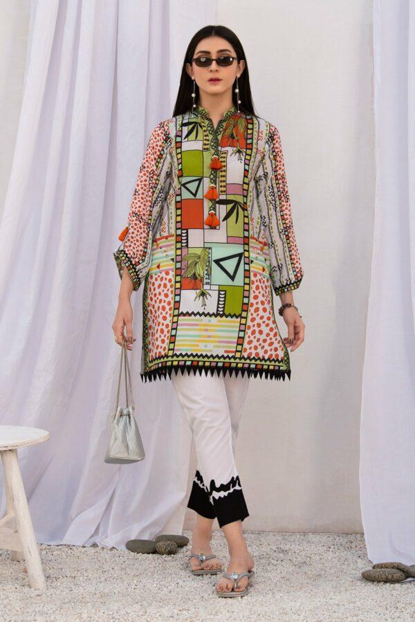 BTW Unstitched Designer Lawn Kurti – Fern Field Stone Low Range Pakistani Suits & Kurtis