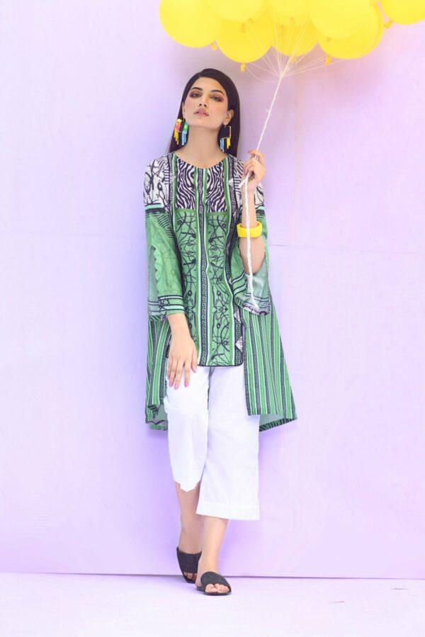 BTW Unstitched Designer Lawn Kurti – Celadon Green Low Range Pakistani Suits & Kurtis